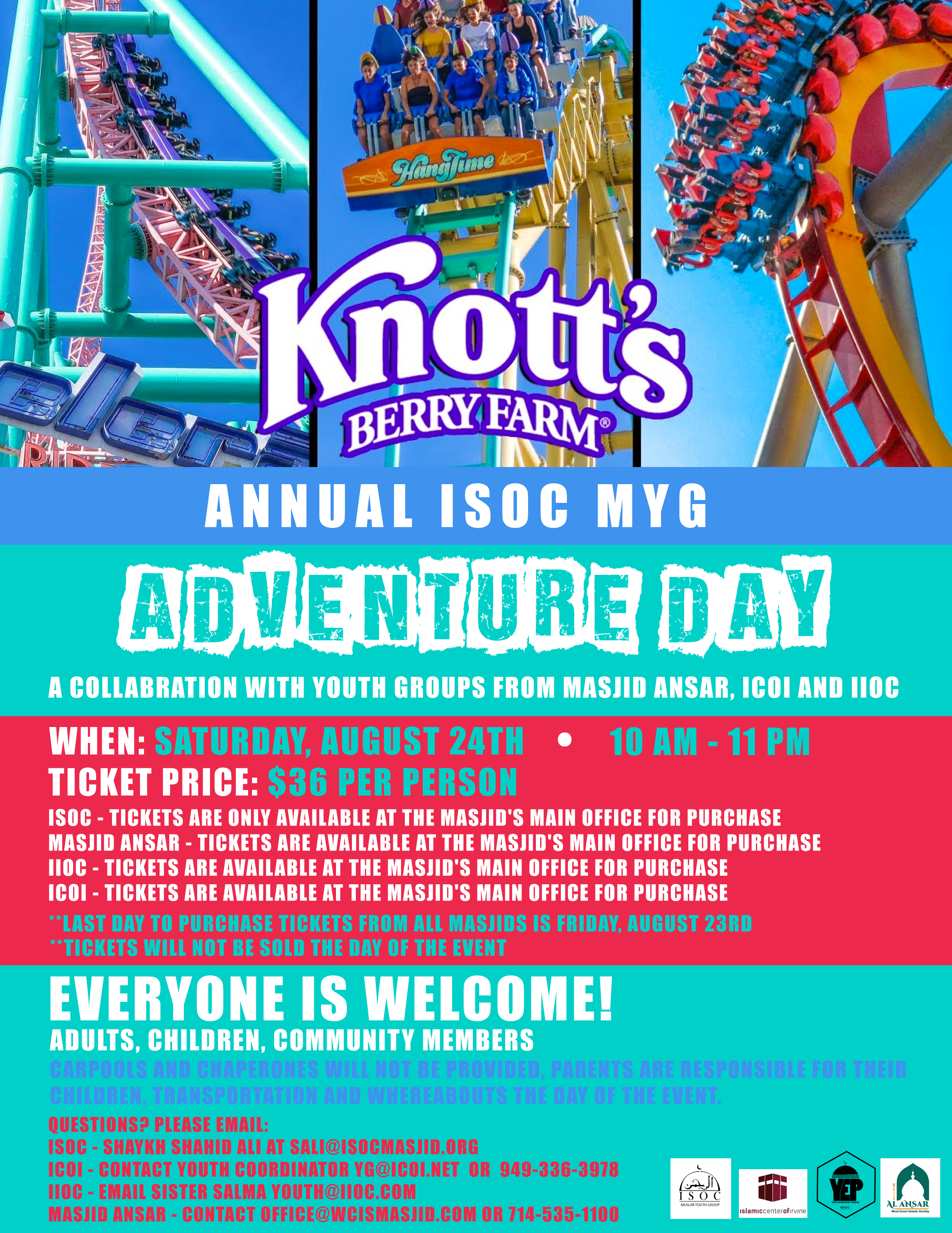 ISOC Muslim Youth Group – Adventure Day at Knotts Berry Farm